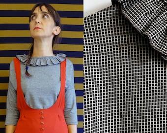 Handmade black grids print ruffle collar cotton jersey top Small, Medium, Large [Odessa Shirt (ruffles)/black grids collar]
