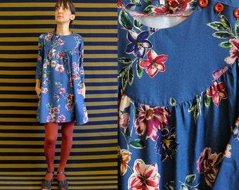 Blue Viscose Flowers Print Tunic Dress with Side Buttons [Brooklyn Dress/blue powder flowers]