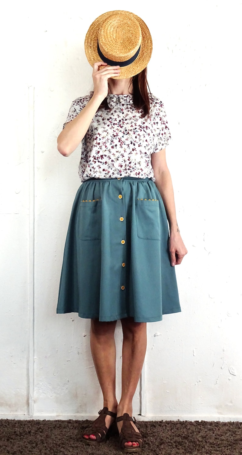LAST PIECE left Bastia Skirtwater green only size M Water Green Vintage Cotton Fabric Half-Circle Buttons and pockets Skirt