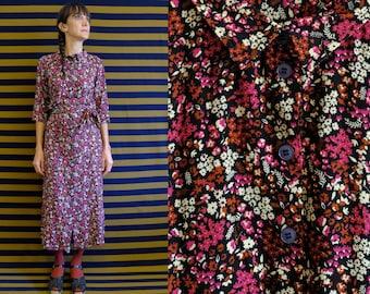 Viscose Vintage Fabric Flowers Prints Black Chemisier, Long Dress [Boavista dress/Multi flowers in black]