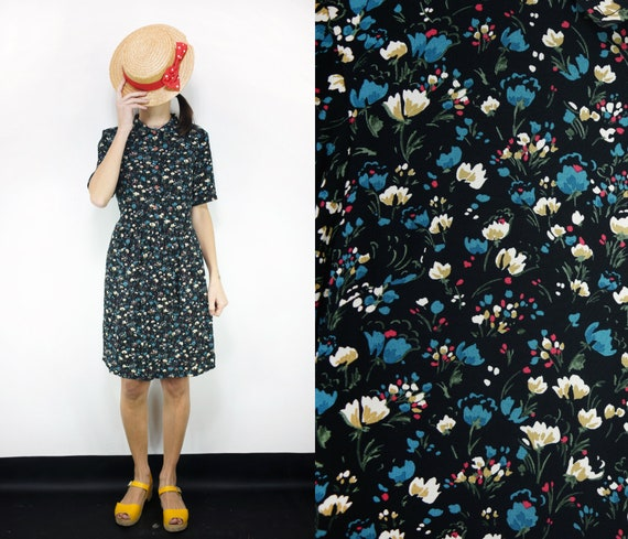 with Cotton Dress Nadine Dress Buttons Black Belt Small Collared Large Multicolor Viscose Black flowers Medium Flowers CnRtYq