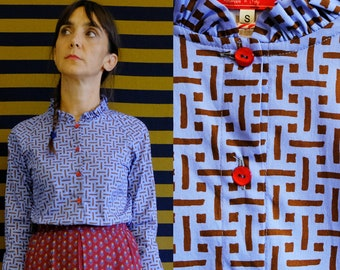 Handmade Pure Vintage Cotton Ruffle Collared Blouse with geometric print [Osaka Blouse/geometrics in blue]