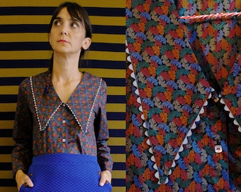 Handmade Pure Vintage Organic Cotton Maxi Collar Black Blouse with leaves print [Lousiana Blouse-leaves]