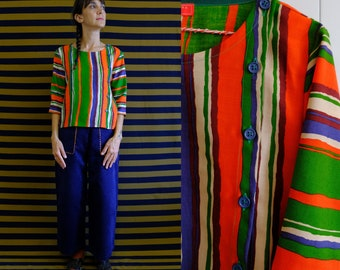 Handmade Wool and silk Vintage Striped Blouse with lateral opening [Recife blouse - vertical stripes]