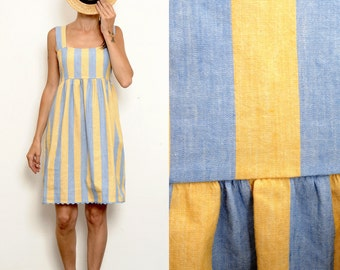 Striped yellow and blue linen Smock Summer Dress [Bianca dress/Blue-yellow]
