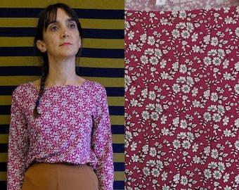 Handmade Vintage viscose flowers print squared collar t-shirt, top [Colmar shirt/flowers in magenta]
