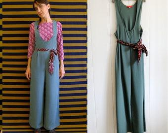 Handmade Vintage Viscose blend sage green-grey JUMPSUIT, wide leg jumper, with belt [Ravenna jumpsuit/Sage Green]