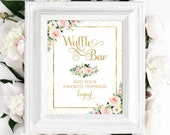 Waffle Bar 8 x 10 DIY Printable Ever After Gold Ethereal Blooms PDF and JPG Files Instant Download