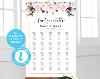 100/% Editable Text Wedding Seating Chart Template INSTANT DOWNLOAD #PURPLE Purple seating chart Printable Seating Chart Template