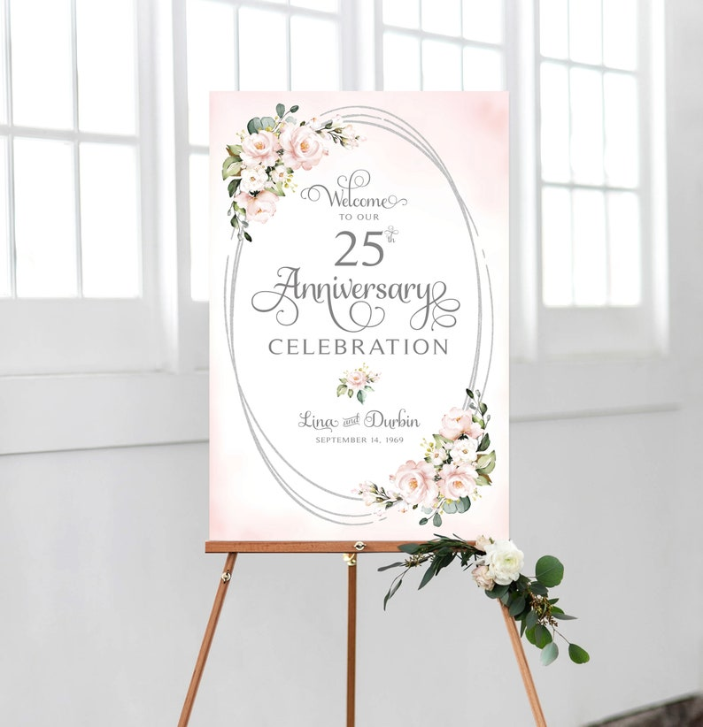 Personalized Oval Framing Ever After Blush Roses Various Sizes DIY Printable Wedding Anniversary