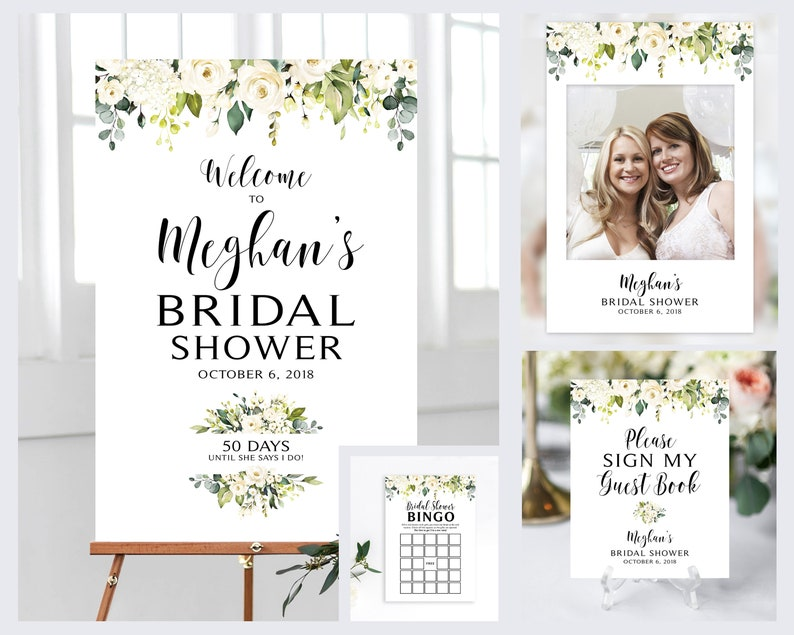 DIY Printable DIY Printables Cream Roses Welcome Sign Photo Booth Prop 4 Items Greenery Bridal Shower Sign Bundle