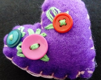 Felt Heart Brooches - hand embroidered flower