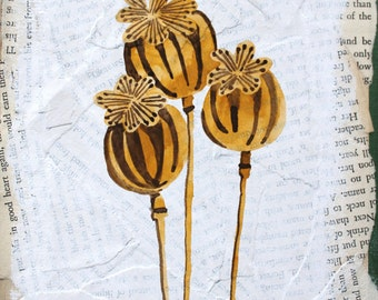 Three Dried Poppies Original Watercolor Mixed Media Painting