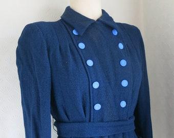 30s Blue Woolen Victorian Style Jacket Coat