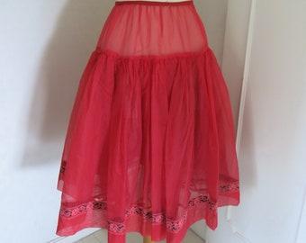 Red 50s tulle petticoat