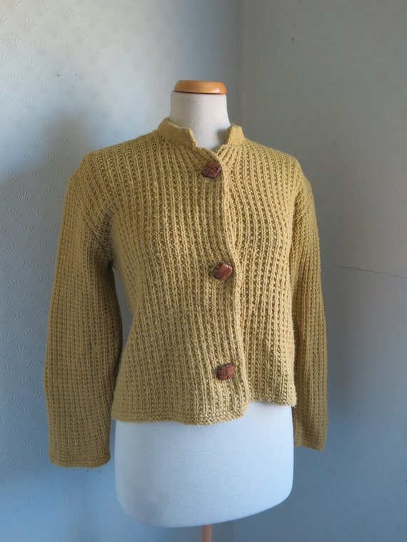 Mustard Yellow Brown 40s 50s Knit Sweater Cardiga… - image 1