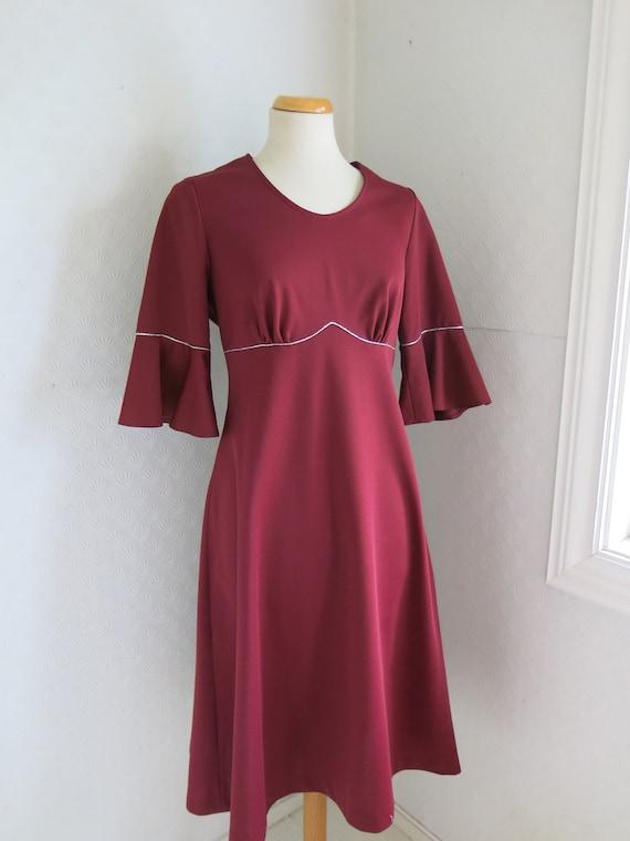 Wine red Maroon Dark red 70s Bell sleeves Dress Go