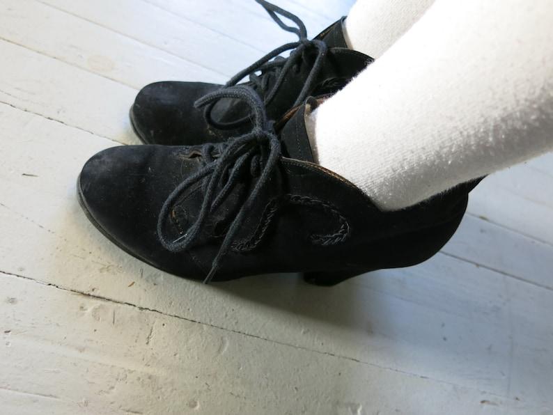 40s Suede Platform boots Black Heels Trim Lace up EU size 39