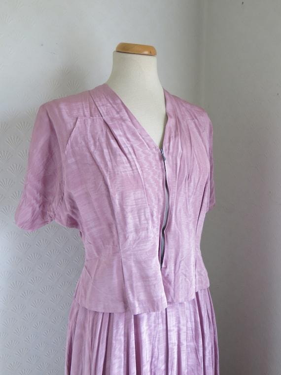 40s Dress with matching Jacket Bolero Maxi Mauve D