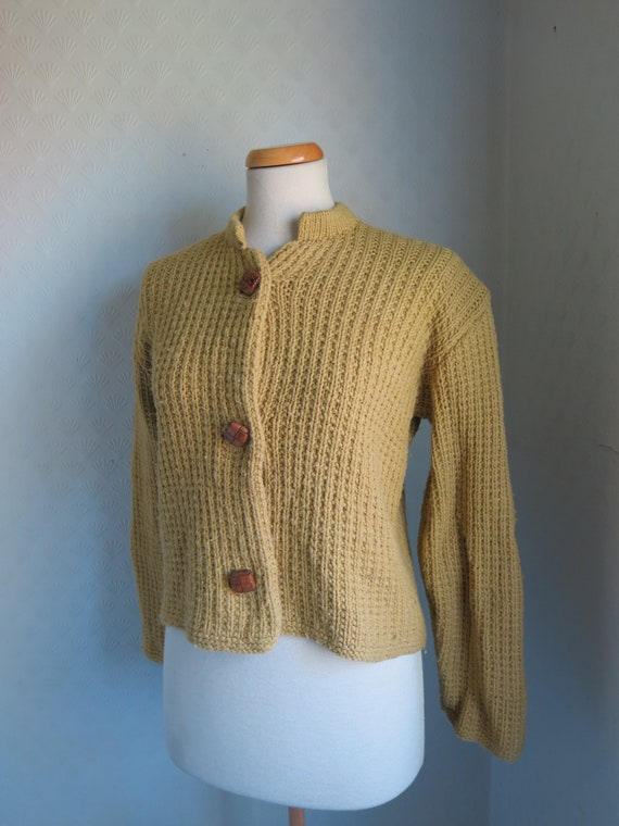 Mustard Yellow Brown 40s 50s Knit Sweater Cardiga… - image 2