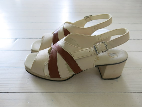 60s 70s Deadstock Platform sandals Shoes Mod Beige
