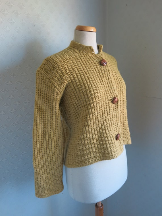 Mustard Yellow Brown 40s 50s Knit Sweater Cardiga… - image 7