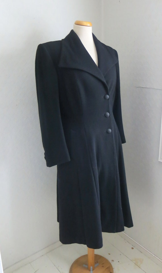 40s Black Wool woolen Princess Coat Big Collar Med