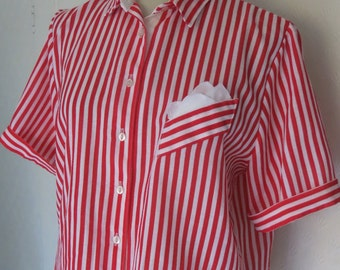 Red and white striped vintage blouse