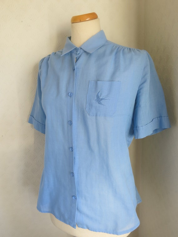 Blue 50s 60s Blouse Bird Embroidery Large Extra La