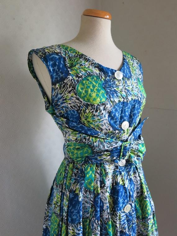Green Blue Novelty Abstract print 50s Cotton dress