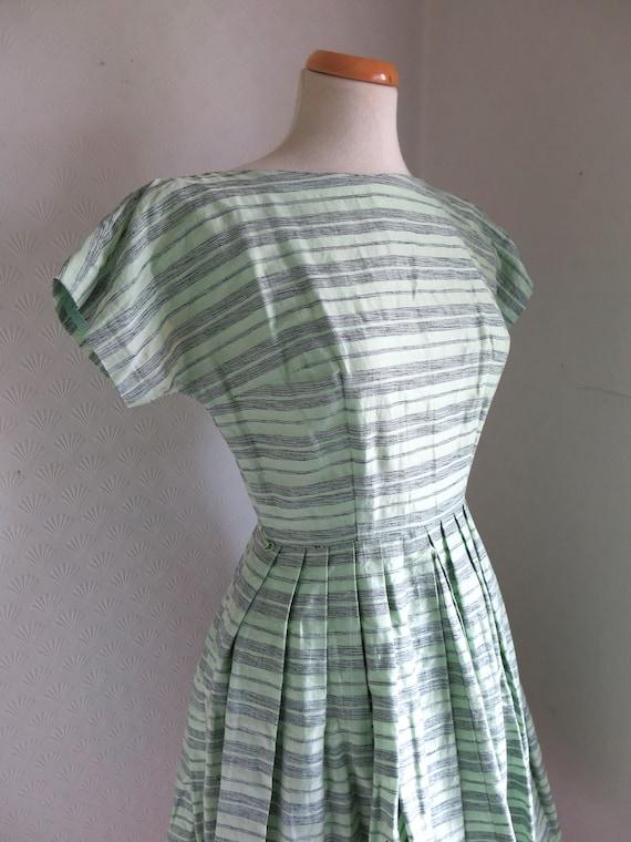 Green Black Striped 50s Cotton Dress Full Skirt Sm