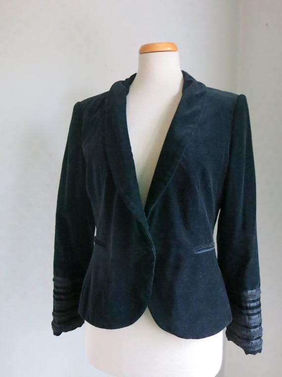 Black 90s Goth Victorian Velvet Soutache Jacket No