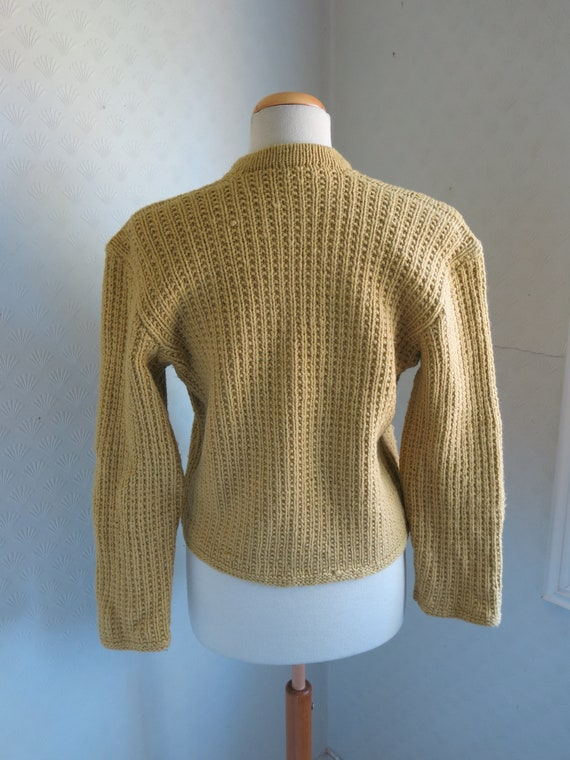 Mustard Yellow Brown 40s 50s Knit Sweater Cardiga… - image 5
