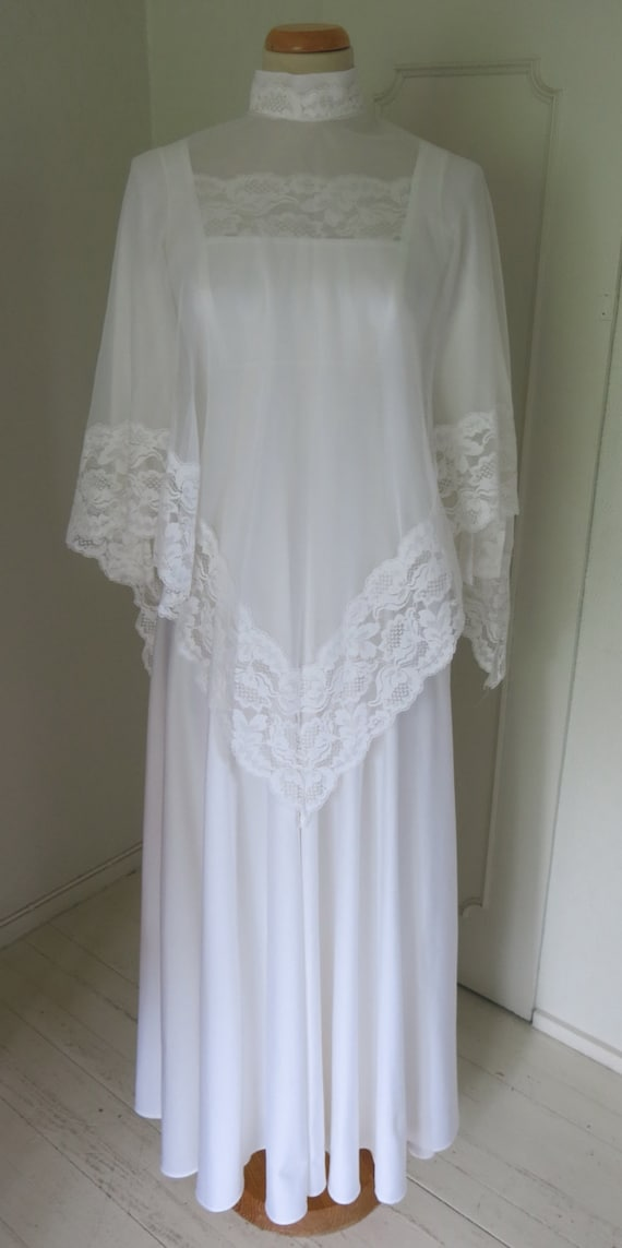 70s dress wedding dress with cape Small