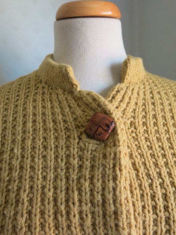Mustard Yellow Brown 40s 50s Knit Sweater Cardiga… - image 3