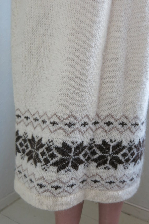 Norwegian Wool Fair Isle Knit Skirt Snowflake Trad