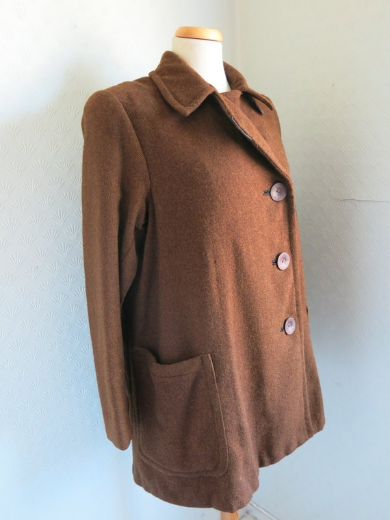 40s Brown Wool Coat Jacket Big buttons Large