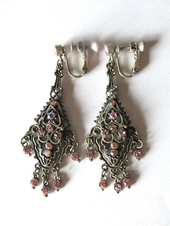Victorian Revival Pink Rhinestones Drop Dangle Cha