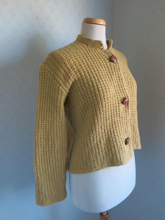 Mustard Yellow Brown 40s 50s Knit Sweater Cardiga… - image 4