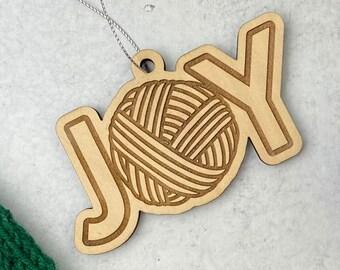 JOY Christmas Ornament • Joy of Yarn • Wood Laser Cut Ornament