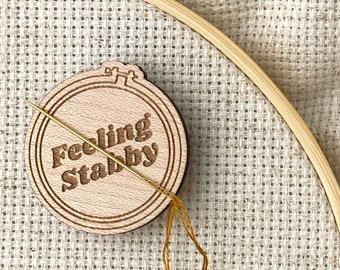 Feeling Stabby Embroidery Hoop Needle Minder / Keeper, Walnut, Laser Cut Wood