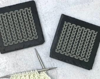 Knitting Slate Coasters • Set of 2 • Knit Stitch • Stockinette