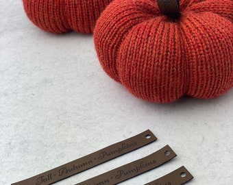 Pumpkin Stems • Faux Leather Sew In Tags for Knitting Pumpkins • Set of 3