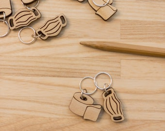 Stitch Markers, Wood Toilet Paper and Mask, Soldered Ring Marker, Set of 2
