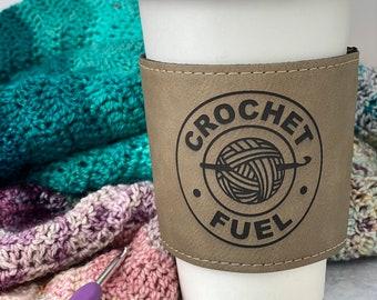 Crochet Fuel Mug Sleeve • Coffee Sleeve • Faux Leather • Leatherette