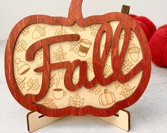 """Fall / Autumn Pumpkin Wood Sign • approx 6"""" x 5"""" • 2 Layer • Pumpkin Spice"""