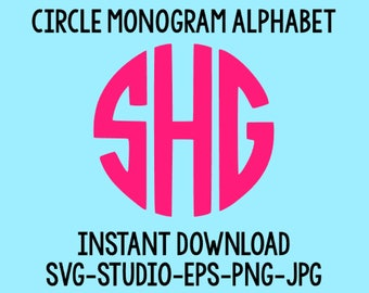 SALE! Circle Monogram Svg, Monogram Letters, Circle Monogram Font, Cut Files For Cricut, Cut Files For Silhouette
