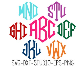 Diamond Monogram Font SVG, Diamond Monogram Alphabet, Cut Files For Silhouette Studio, Cutting Machines, .studio3, Svg