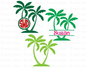 Palm Tree SVG, Palm Tree Monogram SVG, Split Monogram SVG, Summer Svg, Svg Files, Cricut Cut Files, Silhouette Cut Files
