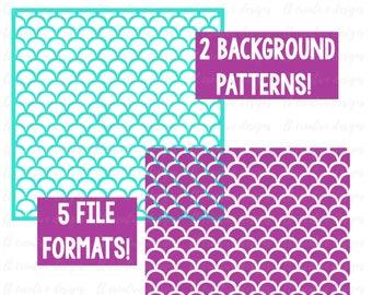 Shell Background Pattern SVG, Scallop Pattern SVG, Mermaid Pattern Svg, Cricut Cut Files, Silhouette Cut File, SVG Files